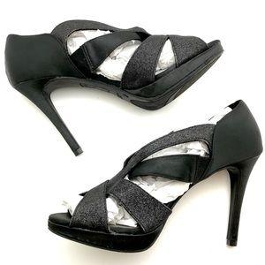 Fioni Nights Sparkley Black Satin Heels - Sz 8